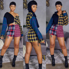 Plaid Long Sleeve Tops And Shorts Two Piece Suits GLF-8118