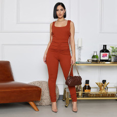 Solid Sleeveless Ruched One Piece Jumpsuits GLF-8115