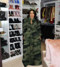 Plus Size Camo Print Long Sleeve Sashes Maxi Dress DYF-1012