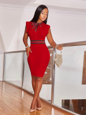Plus Size Bowknot Sleeveless Ruffled Bodycon Dress DYF-1018