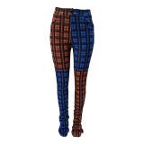 Plus Size Plaid Print Mid Waist Stacked Pants DYF-1023