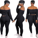 Plus Size Solid Slash Neck Long Sleeve 2 Piece Pants Set DYF-1001