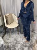 Plus Size Velvet Hooded Zipper Long Sleeve 2 Piece Sets DYF-1006