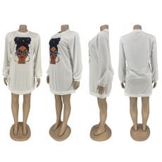 Casual Printed Long Sleeve O Neck Sweatshirt Dress ZNF-8011