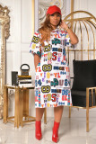 Letter Print Hooded Casual Loose Midi Dress WSM-5221