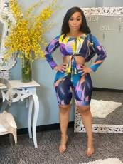 Sexy Printed Long Sleeve Two Piece Short Sets WSM-5224