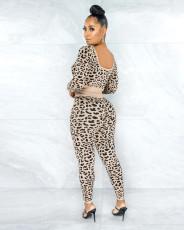 Plus Size Fashion Leopard Print Sports Casual Long Sleeve And Pants 2 Piece Set WAF-7139