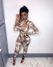 Stand Collar Long Sleeve Camouflage Slim Jumpsuit TCF-056