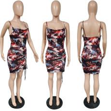 Fashion Print Sling Sleeveless Dress TCF-057