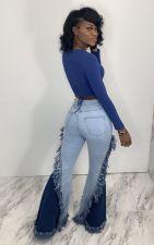 Denim Tassel Patchwork Flare Jeans LA-3252