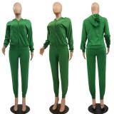 Plus Size Solid Hooded Zipper Long Sleeve 2 Piece Pants Set MTY-6378