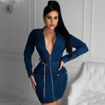 Sexy V Neck Zipper Long Sleeve Belted Mini Dress LA-3248