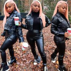 Plus Size Fashion Lapel Slim Long Sleeve PU Leather Jacket WAF-7131