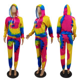 Tie Dye Print Hooded Long Sleeve 2 Piece Pants Set MTY-6599