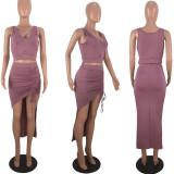 Sexy Sleeveless Crop Top Irregular Skirt 2 Piece Sets DSF-6057