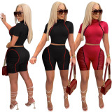 Plus Size Mesh Patchwork Short Sleeve 2 Piece Shorts Set YIY-5260