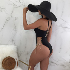 Sexy Lace Up Hollow Out One Piece Swimsuits BN-9079