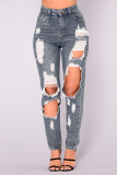 Plus Size Denim Ripped Hole Jeans Pants LX-5119