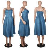 Sexy Casual Sling Sleeveless Denim Midi Dress MOS-1092