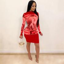 Character Printed Long Sleeve Slim Mini Dress TE-4184
