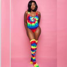 Sexy Tie Dye Print Bodysuit With Stocking BN-9167