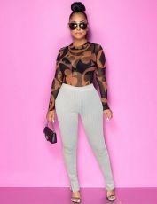 Sexy Printed Mesh T-shirt Pants Two Piece Set OXF-8106