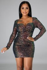 Sexy Sequined Long Sleeve Mini Dress LX-8569