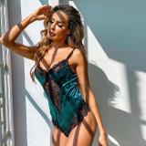 Sexy Lace Velvet Patchwork Bodysuit Teddy Lingerie MDNF-10279