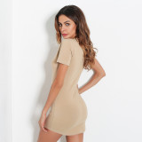 Solid Short Sleeve O Neck Mini Dress MDNF-0390