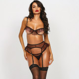 Sexy Mesh Steel-ring Bra G-String Grater 3Pcs Lingerie Sets MDNF-10644