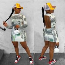 Dollar Print Backless Long Sleeve Mini Dress IV-8158