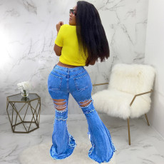 Plus Size Denim Ripped Hole Skinny Flared Jeans HSF-2361
