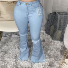 Plus Size 5XL Denim Ripped Hole Flared Jeans HSF-2397