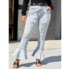 Plus Size 5XL Fat MM Denim Ripped Hole Flared Jeans HSF-2407