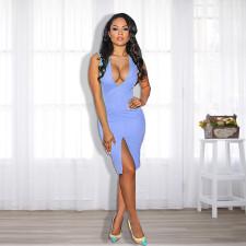 Sexy V Neck Sleeveless Split Knee Length Dress TE-4187
