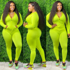 Plus Size Solid Hooded Zipper Long Sleeve 2 Piece Sets YD-8256