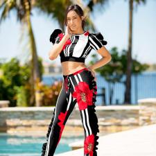Floral Stripe Print Ruffled Short Sleeve 2 Piece Pants Set OY-6246