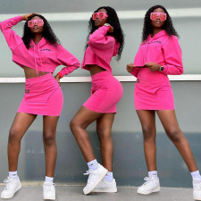 Letter Print Sports Hoodie Mini Skirt Two Piece Sets NSFF-8032