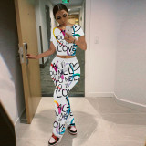 Letter Print Short Sleeve Piles Pants 2 Piece Sets YFS-3666