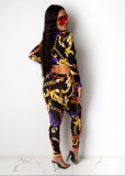 Sexy Printed Lace Up Hollow Out 2 Piece Pants Set MDF-5207