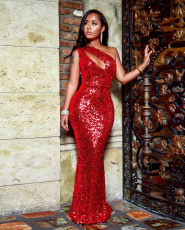 Sexy Sequined One Shoulder Sleeveless Maxi Evening Dress ME-190