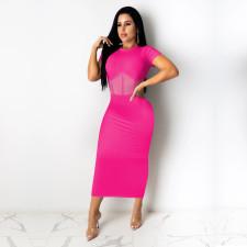 Sexy Mesh Patchwork Short Sleeve Maxi Dress TE-4188