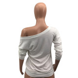 Plus Size Lip Print Off Shoulder Long Sleeve T Shirt Top DYF-1056