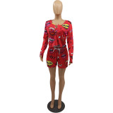 Plus Size Casual Printed Long Sleeve 2 Piece Short Sets DYF-1052