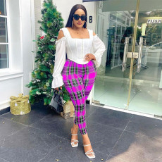 Plaid Print Sexy All-match Casual Pants SZF-9050