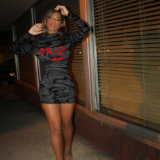 Sexy Tight DRIP Letters Print Long Sleeve Mini Dress FENF-088