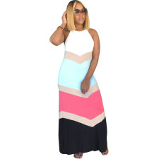 Plus Size Sexy Stripe Print Slip Maxi Dress DYF-1051