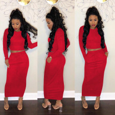 Plus Size Solid Full Sleeve Long Skirt Two Piece Sets DYF-1050