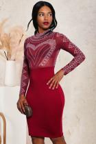 Long Sleeve Hot Rhinestone Sexy Slim Party Evening Dress LX-8678