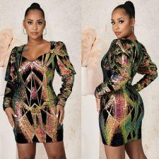 Sexy Sequin Long Sleeve Zipper Nightclub Party Dress LX-6050